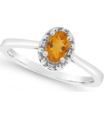 citrine (3/8 ct. t.w.) and diamond accent ring in sterling silver (also available in other gemstones)
