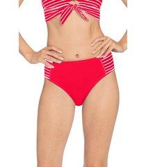 women's robin piccone sailor high waist bikini bottoms, size small - red