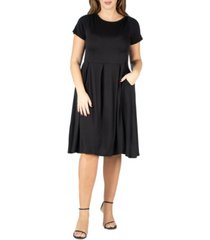 24seven comfort apparel women's plus size short sleeve midi skater dress