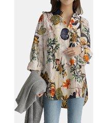 camicetta allentata casual a maniche lunghe con stampa floreale vintage con tasche
