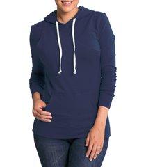 women's bun maternity cozy maternity/nursing hoodie, size small - blue