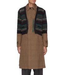 striped cardigan overlay glen check long coat