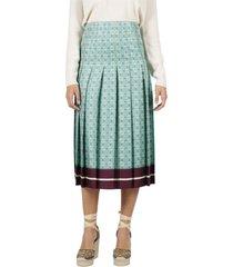 gucci silk skirt with gg print