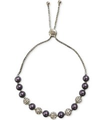 charter club silver-tone pave fireball & imitation pearl slider bracelet, created for macy's