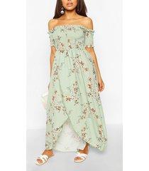 gebloemde petite maxi-jurk met bloemenprint en wikkelstijl voorkant, salie