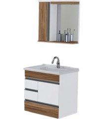conjunto de banheiro rorato modena, nogal, 60 cm
