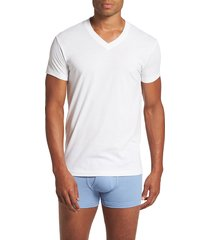 men's 2(x)ist pima cotton slim fit v-neck t-shirt, size large - white