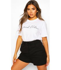 petite 'good vibes' slogan t-shirt, white
