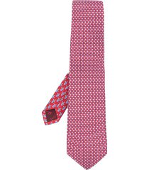 salvatore ferragamo floral-print pointed tie - red