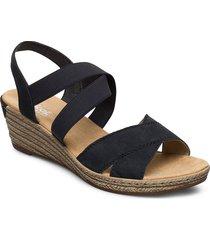 62412-15 sandalette med klack espadrilles svart rieker