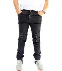 jean moda hombre negro manpotsherd rer :df-black