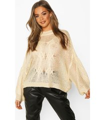 mohair look oversized sweater, cream