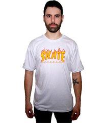 camiseta manga curta skate eterno flame branca - kanui