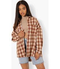 geborstelde geruite oversized blouse, brown