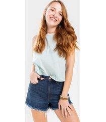 harper heritage high waist frayed denim shorts - dark