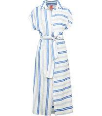 stripe linen-blend midi shirtdress