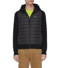 'hybridge' down puffer panel reversible merino wool zip cardigan