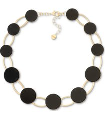 """alfani gold-tone helio stone statement collar necklace, 18"""" + 2"""" extender, created for macy's"""