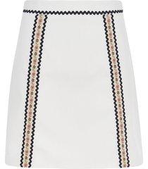 miu miu mid-length floral detail skirt