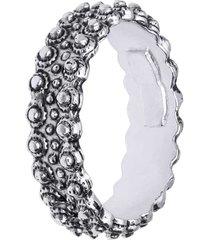 anello a fascia in argento rodiato con palline per donna