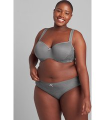 lane bryant women's no-show hipster panty with lace trim 30/32 summer grey