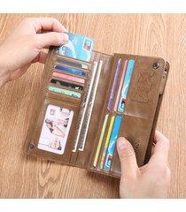 pochette per portafoglio lungo multitasche vintage multifunzionale in vera pelle