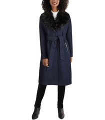 guess faux-fur-collar belted wrap coat