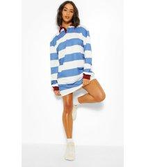gestreepte rugby sweatshirt jurk, blue