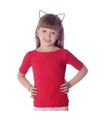 blusa infantil ficalinda com protetor solar vermelha meia manga decote canoa