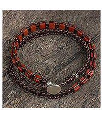 jasper and leather wrap bracelet, 'charming stones' (thailand)