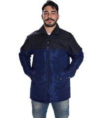 jaqueta carbella casaco microtel acolchoado inverno azul detalhe preto
