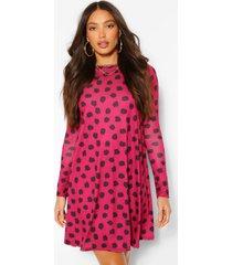 tall polka dot print smock skater dress, berry