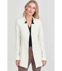 casaco alongado rubinella gola recorte feminino