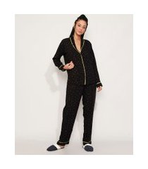 pijama feminino camisa estampado mini print com vivo contrastante manga longa preto
