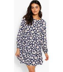 gesmokte bloemenprint jurk met losvallende zoom, navy