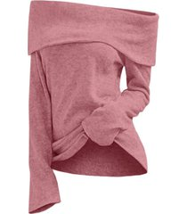 off shoulder foldover knit top