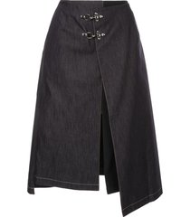 rokh buckle detail skirt - blue