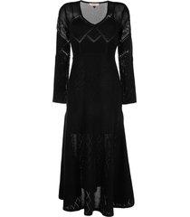 twinset open-knit flared long dress - black