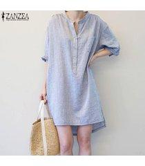 zanzea vestido de camisa con blusa y blusa sin mangas, con manga larga, para mujer -azul
