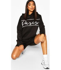 lang oversized hoodie met 'parijs'-print, zwart