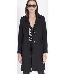 abrigo mujer muflón negro 1 botón liola