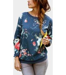 sudadera con capucha y cremallera estampado floral azul redondo cuello