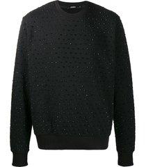 amen crystal detail sweatshirt - black