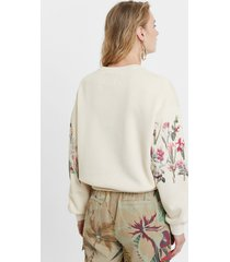 floral yoke jumper - white - xl