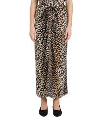 ganni silk stretch satin midi skirt in leopard print