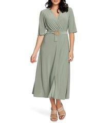 women's chaus belted faux wrap midi dress, size x-large - green