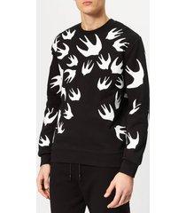 mcq alexander mcqueen men's swallow swarm pigment sweatshirt - darkest black - xxl - black