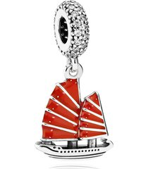 925 sterling silver chinese junk travel dangle charm bead & red enamel qjcb936