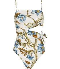 'aliane' floral print scarf tie swimsuit
