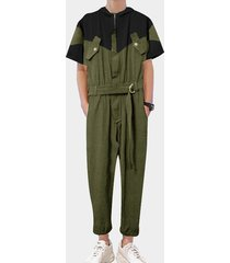 hombres summer casual multi-pocket splice patchwork con cinturón monos mono